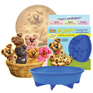 ZANDA PANDA Puppy Mold image with packaging, mold and a basket of puppy cookies