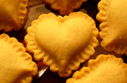 Ruffled Heart Cookies made with ZANDA PANDA's Valentines Heart Stoneware Cookie Molds