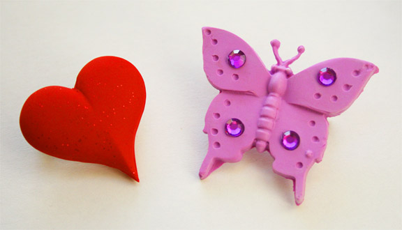 Polymer Clay Heart & Butterfly Pins
